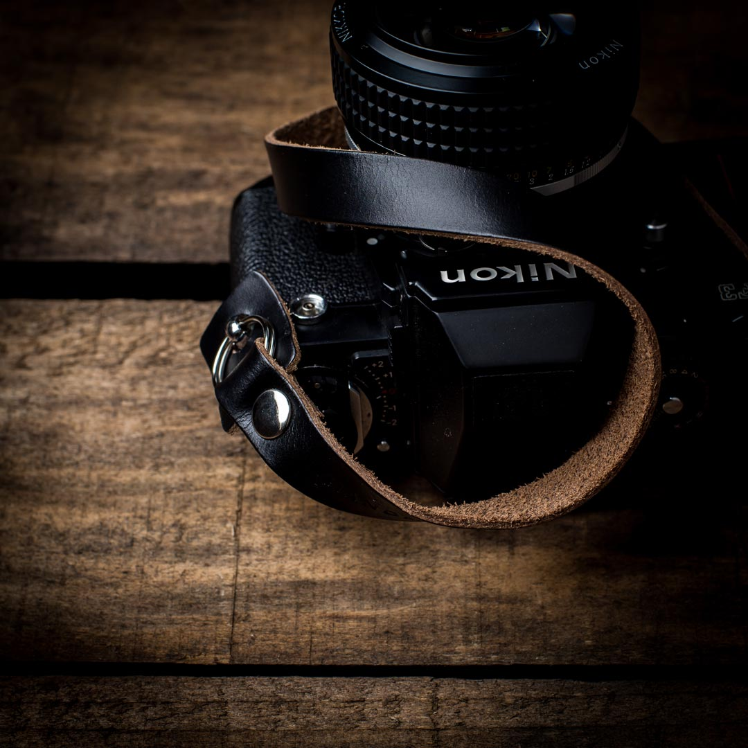 Black-Hawkesmill-Horween-Chromexcel-Leather-Camera-Neck-Strap-Nikon-F2