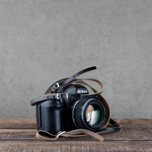 Leather Camera Strap Borough Black For Canon Hawkesmill
