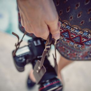 Hawkesmill-Borough-Camera-Neck-Strap-Canon-Brown-Girl-Holding-Camera