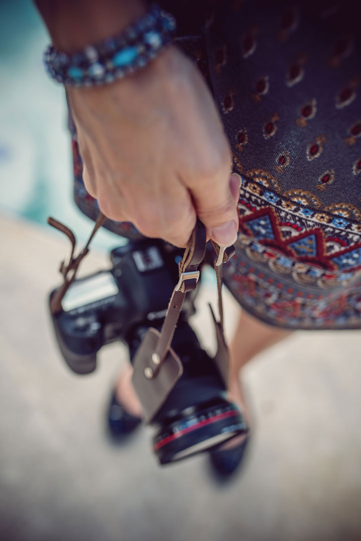 Hawkesmill-Borough-Camera-Neck-Strap-Canon-Brown-Girl-Holding-Camera