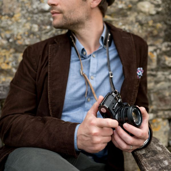 Hawkesmill-Borough-Camera-Neck-Strap-Canon-Brown-Man-Holding-Camera