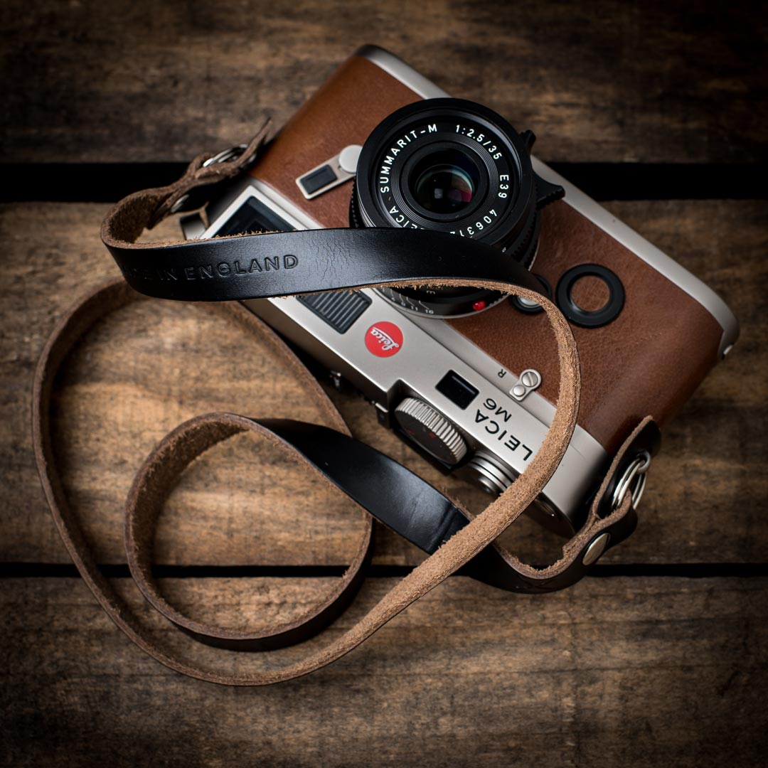 Hawkesmill-Horween-Camera-Neck-Strap-on-Leica-M6-Calfskin