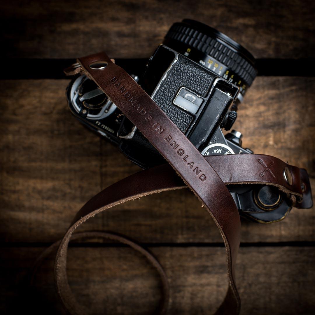 Hawkesmill-Kensington-Horween-Camera-Neck-Strap-on-Nikon-F2