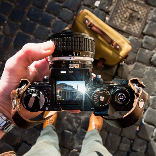 Hawkesmill-Leather-Camera-Strap-Brown-Kensington-Rome-Nikon-F3