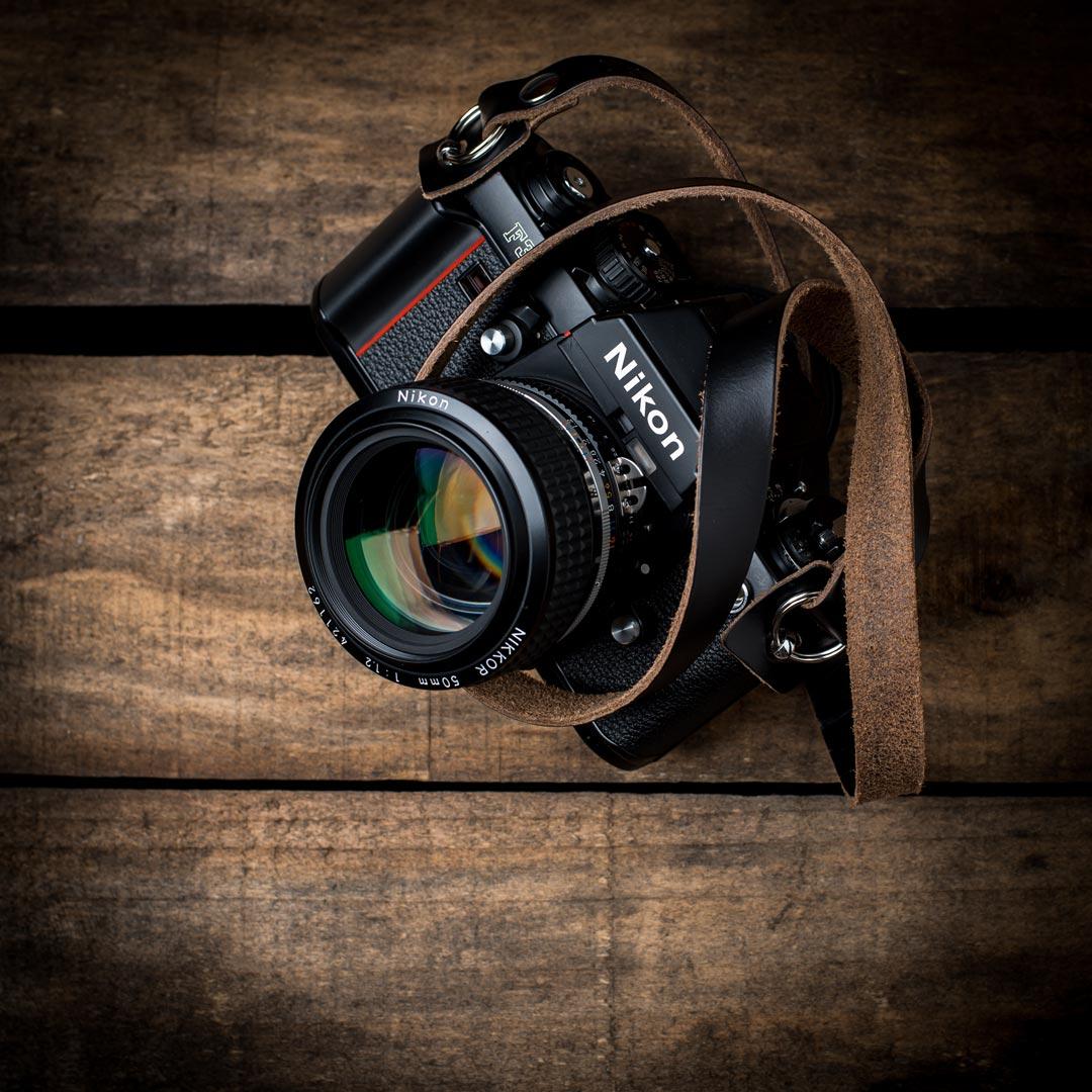 Horween-Chromexcel-Camera-Neck-Strap-Nikon-F3