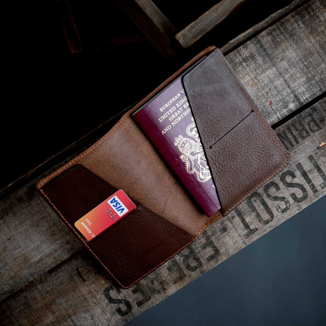 Italian leather passport holder