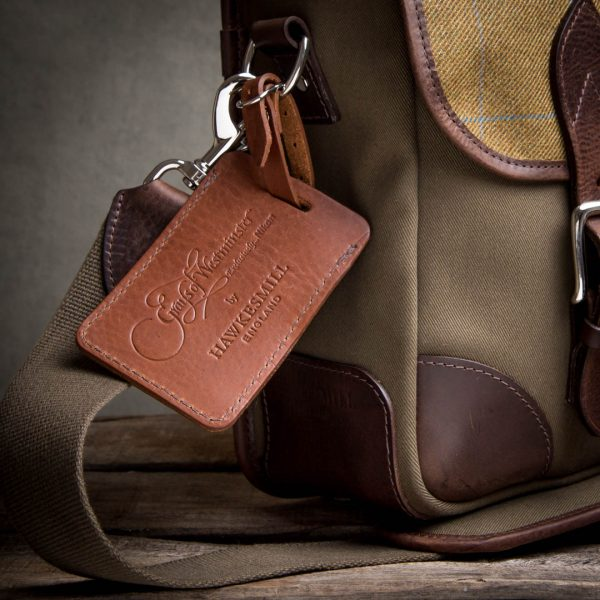 leather luggage tag Grays of Westminster-Brown