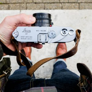 Hawkesmill Kensington Leather Camera Strap Brown on Leica M3