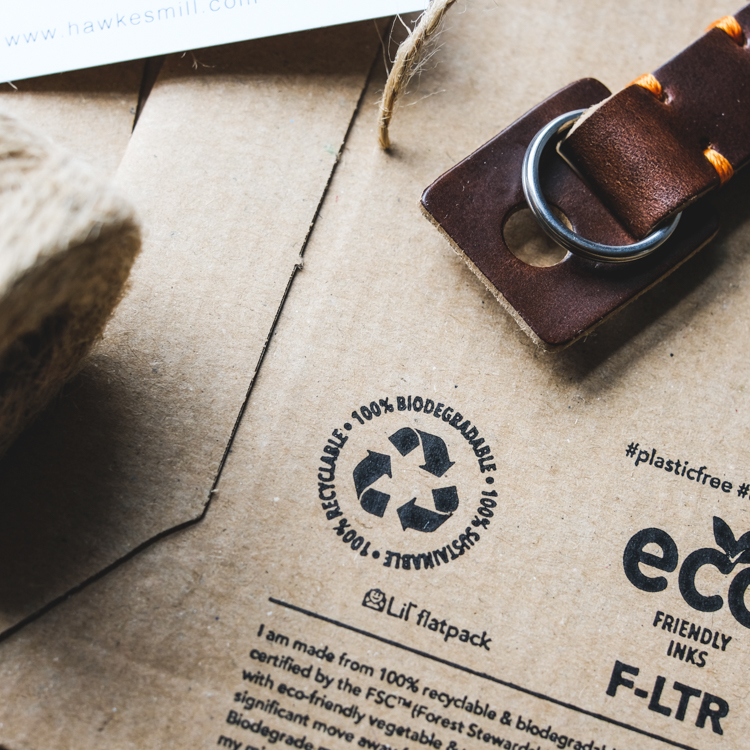 Biodegradable packaging for our leather camera strap